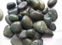 Polished Landscaping Green Color Pebble Stone Dalei Stone Wholesale
