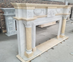 Beige Marble White Marble Mix To The Marble Fireplace