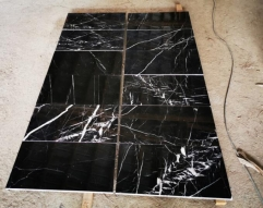 Black Marble Nero Marquina Marble Tiles With White Lines