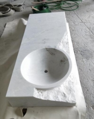 White Marble Vanity Countertops With Sinks Honed and Natural Surface Way