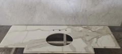 Calacatta White Marble Countertops With Golden Lines and Sinks Cut