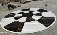White and Black Marble Match Round Table Countertops