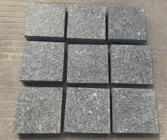 Green Porphyry Cube Stone Flamed Saw Cutting